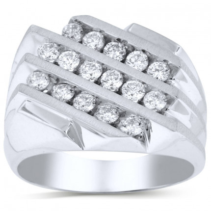 GR16616W   White Gold Mens Ring.   Payroll Jewelry