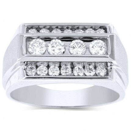 GR18619W   White Gold Mens Ring.   Payroll Jewelry