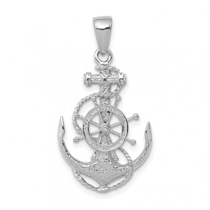 K3080W | White Gold Anchor with Wheel Pendant | Payroll Jewelry