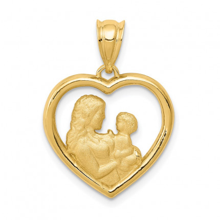 K4753 | Gold Mom and Baby Heart Pendant | Payroll Jewelry