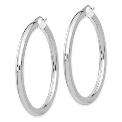 T863L | White Gold Hoop Earrings | Payroll Jewelry