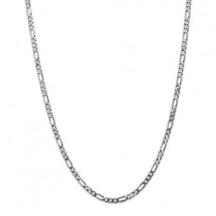 4mm Figaro Chain | 14K White Gold | 24 Inch