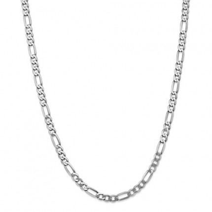 5.5mm Figaro Chain | 14K White Gold | 18 Inch