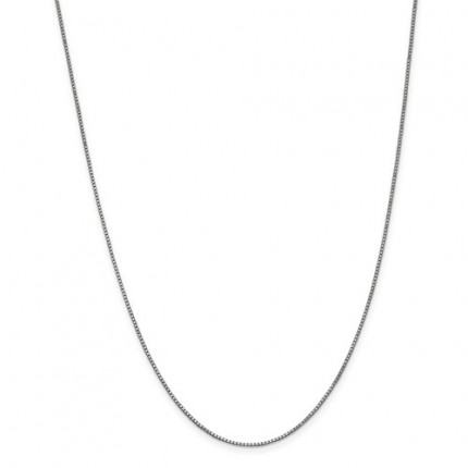 1mm Box Chain | 14K White Gold | 24 Inch