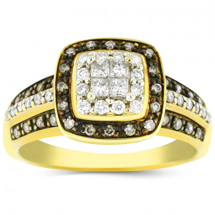 WLR40231Y | Halo Ladies Yellow Gold Engagement Ring | Payroll Jewelry