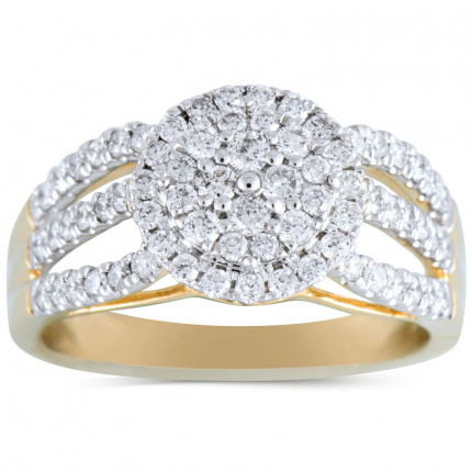 WLR519Y   Halo Ladies Yellow Gold Engagement Ring   Payroll Jewelry