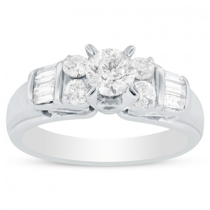 WS10601W | Side Stone Engagement Ring | Payroll Jewelry