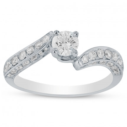 WS38430W | Side Stone Engagement Ring | Payroll Jewelry