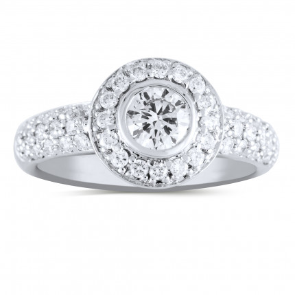 WS47707W | Halo Engagement Ring | Payroll Jewelry