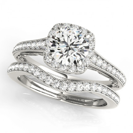 WS50854SET | Halo Wedding Set Engagement Ring. | Payroll Jewelry