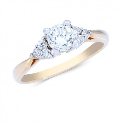 WS6303Y   Yellow Gold Side Stone Engagement Ring   Payroll Jewelry