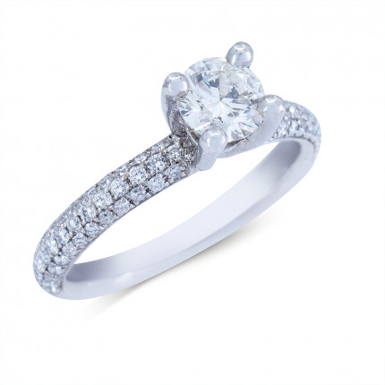 WS78385W   Side Stone Engagement Ring   Payroll Jewelry