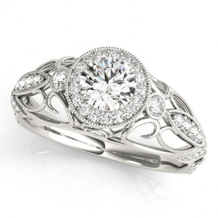 WS84681W | Halo Engagement Ring. | Payroll Jewelry