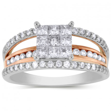 WSF63529PW | Side Stone Ladies White Gold Ring | Payroll Jewelry