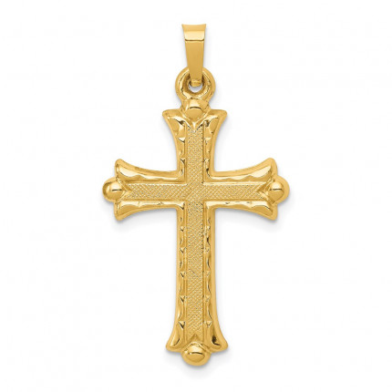 XR209 | Gold Fleur De Lis Cross Pendant | Payroll Jewelry